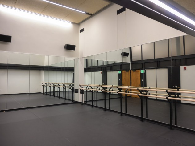 A dance studio with glass walls.