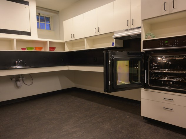 The Lowell House kitchen with an accessible oven on right.
