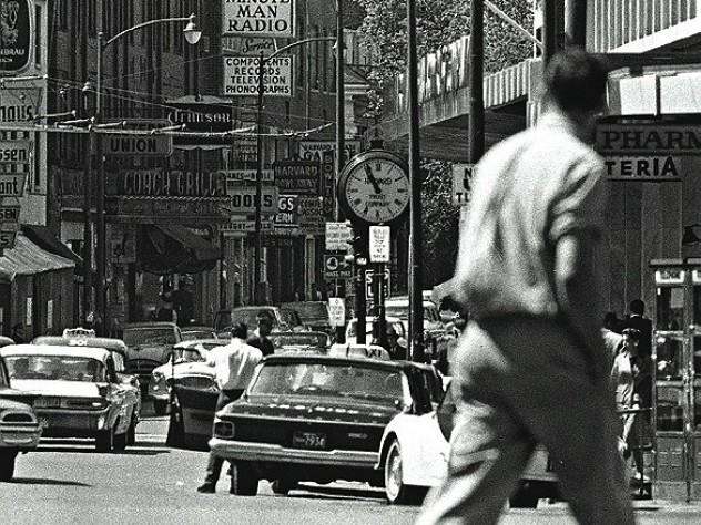 Cruising the Square: Boylston (now John F. Kennedy) Street in 1963.