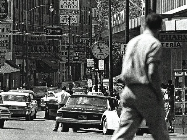 Cruising the Square: Boylston (now John F. Kennedy) Street in 1963.