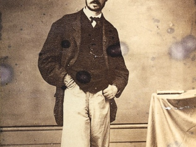 James wearing sunglasses in Brazil, 1865, after suffering a mild form of smallpox on an expedition with Louis Agassiz