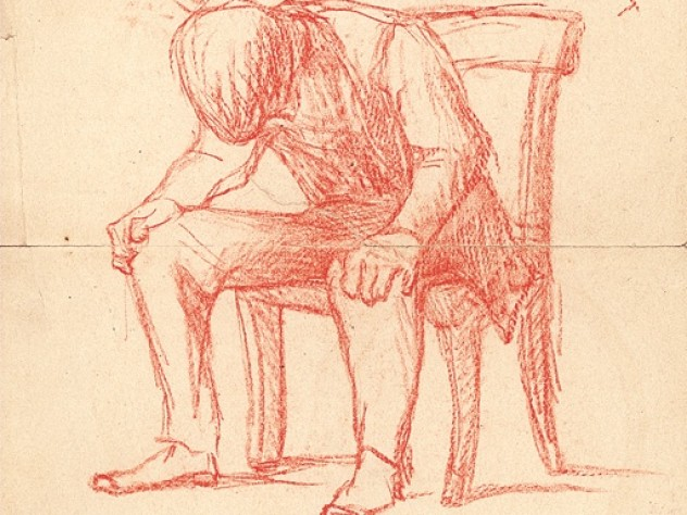 Here I and Sorrow Sit, an 1860s, red-crayon drawing echoing James's depression