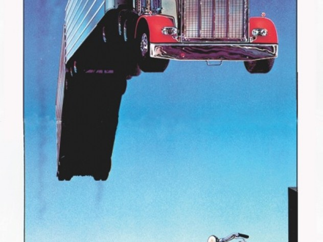Artist Wayne McLoughlin upends  Evel Knievel's motorcycle leaps over rows of cars and trucks: here, a tractor-trailer vaults a row of motorcycles.
