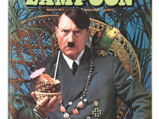 "The 1972 ""Escape!"" issue placed Adolf Hitler on a tropical island—with parrot, beads, and a paper-parasol-garnished rum drink."
