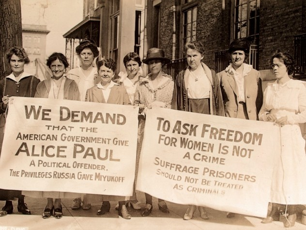 Fellow suffragists protest Alice Paul's incarceration.