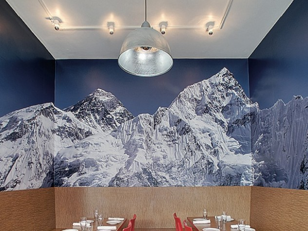 A Mount Everest photo enlivens Yak & Yeti, a Nepalese/Indian restaurant in Somerville, Massachusetts.