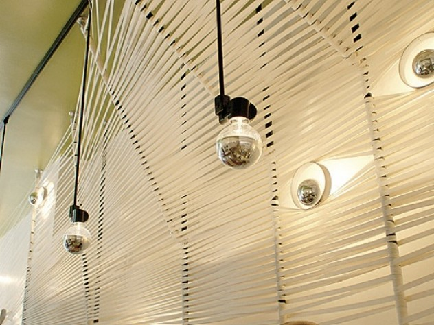 Cotton straps at Yak & Yeti create a unique wall and ceiling.