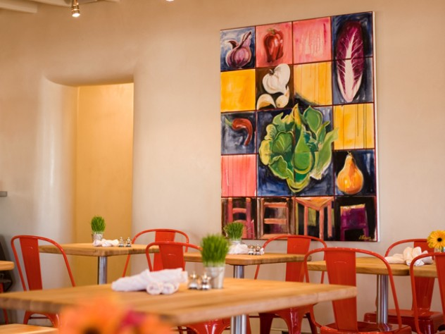 Vinaigrette's light, airy interior pays artistic homage on one wall to the building blocks of salads.