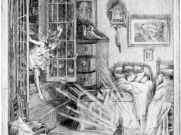 Illustration by F.D. Bedford for J.M. Barrie's <i>Peter and Wendy.</i> As the children sleep, Peter crosses the sill in the glow of Tinker Bell's light.