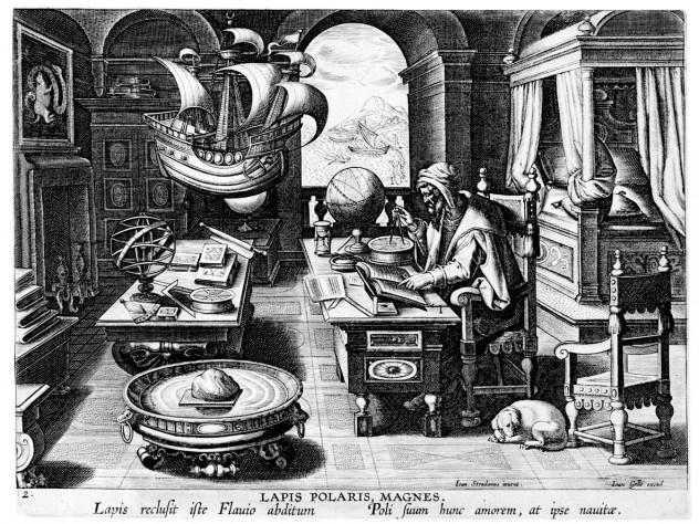 Hans Collaert the Younger's <i>Invention of the Compass,</i> from the same series, shows a figure drawing a compass rose. In the foreground, a naturally magnetic lodestone floats on a wood plank in a water-filled vessel.