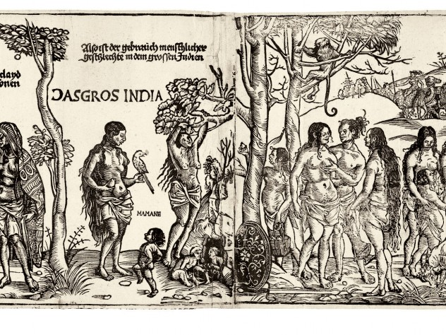 """Georg Glockendon's 1511 <i>Peoples of Africa and India</i> copies Hans Burgkmair's 1508 woodcut documenting the voyage of a Tyrolean merchant along the coasts of these two newly explored continents. Burgkmair's innovative approach to """"mapping"""" the route the expedition followed has been called the beginning of ethnography."""