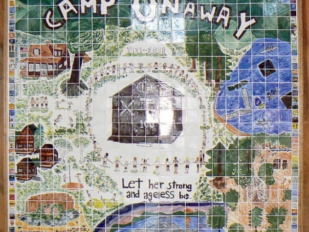 A mural designed by 2011 campers to celebrate Onaway's centennial summer by highlighting its many traditions