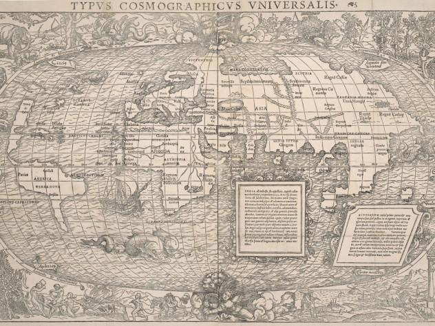Hans Holbein the younger and Sebastian Münster, <i>Universal cosmographic map, from A new globe of regions and islands unknown to the ancients,</i> 1532. Woodcut from two blocks and letterpress.