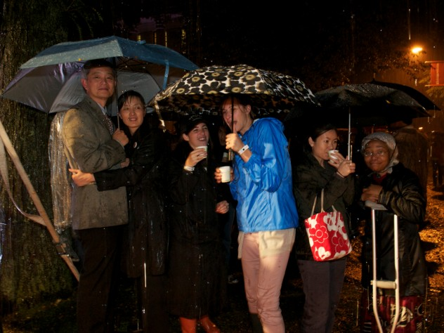 The ceremony had been planned as a series of highly scripted and closely guarded surprises. Although the weather foiled some of these plans, it brought a fun, spontaneous spirit to the evening.
