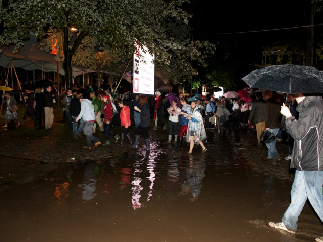Just before the main ceremony was scheduled to begin, University Marshal Jackie O'Neill announced that a lightning storm was moving through the area, and instructed to partygoers to move indoors for safety's sake.