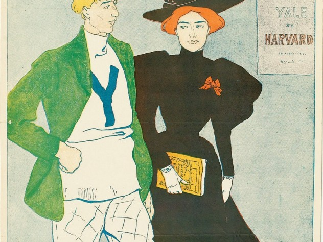 One of the earliest American football posters, done for <i>Harper's</i> in 1894 by Edward Penfield. This example, in B+ condition, sold at a Swann Galleries auction August 3 in New York City for $1,320, including buyer's premium. In 1894 Yale beat Harvard 12-4.