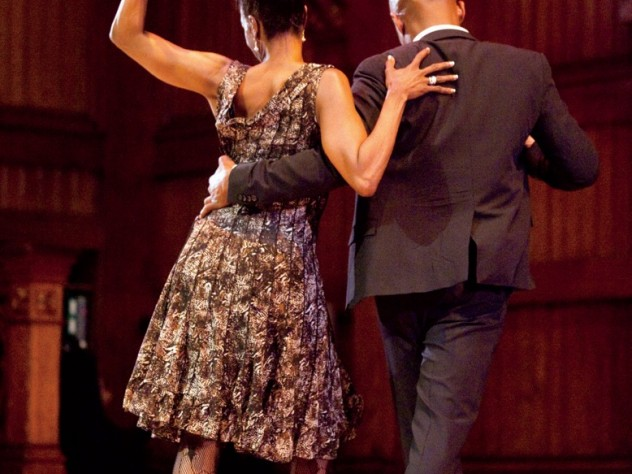 New York City dancers Karen Amatrading and Christopher Lockhart strut their stuff during a lecture by Wynton Marsalis at Sanders Theatre.