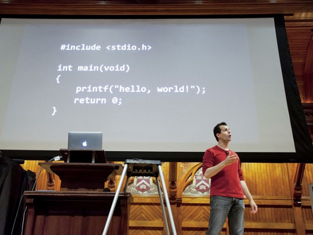 David J. Malan in Sanders Theatre, teaching the wildly popular Computer Science 50