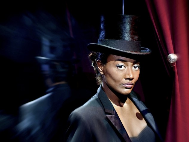 Actress Patina Miller in <i>Pippin,</i> at the American Repertory Theater