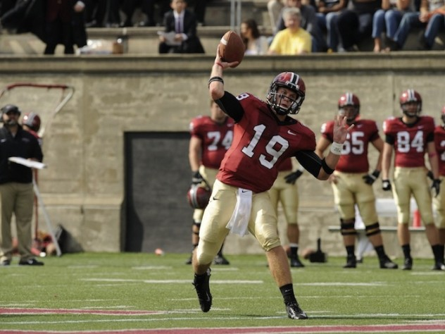 Quarterback Colton Chapple threw five touchdown passes in Harvard's 39-34 loss to Princeton, giving him a league-leading 18 for the season.