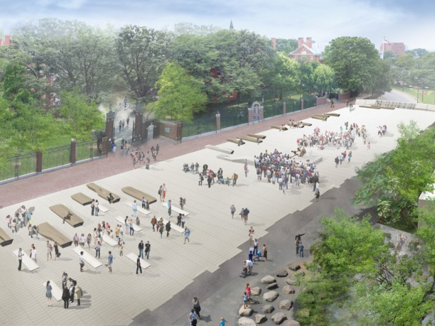 2. The new plaza surface, shown here looking toward Harvard Yard and Holworthy, supports fixed benches of various shapes and sizes. There will also be flexible seating, shaded spaces under new plantings on the north and south edges, and provisions for temporary event and performance structures.