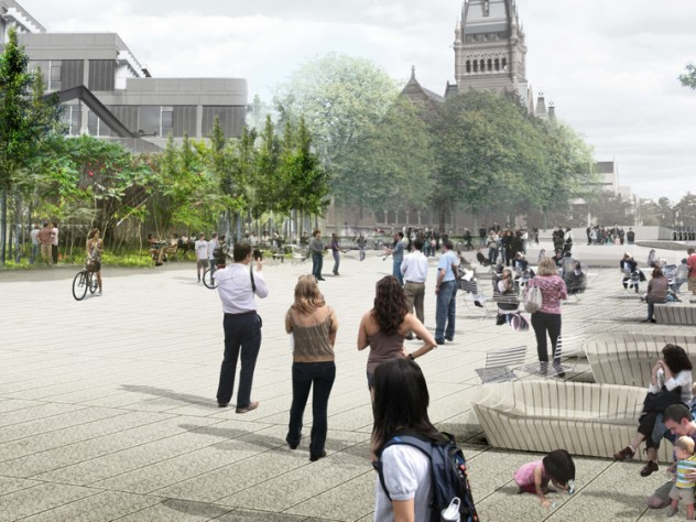 3. A detailed rendering from the western end of the reconstructed plaza, showing surface and seating, and looking toward  the Science Center and Memorial Hall