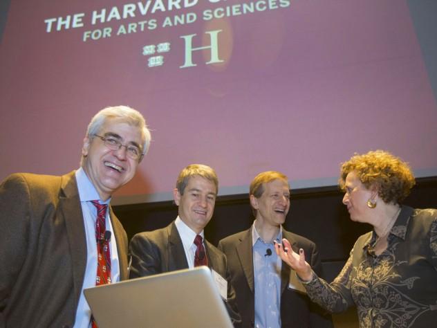 """Big Data"" panelists (from left) Efthimios (Tim) Kaxiras, Stephen Ansolabehere, Gary King, and Alyssa Goodman"
