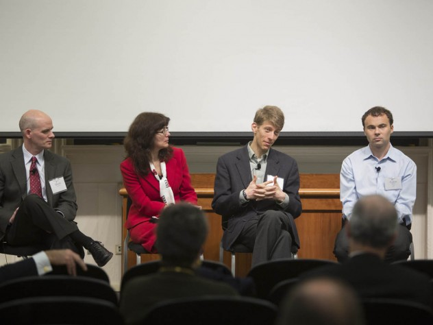 """At the """"Discovering Solutions"""" panel (from left): David Mooney, Joanna Aizenberg, Adam Cohen, and Conor Walsh"""