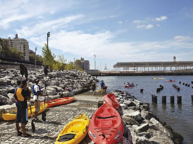 On Pier 1: the view south to Pier 2, with boat ramp and sports courts