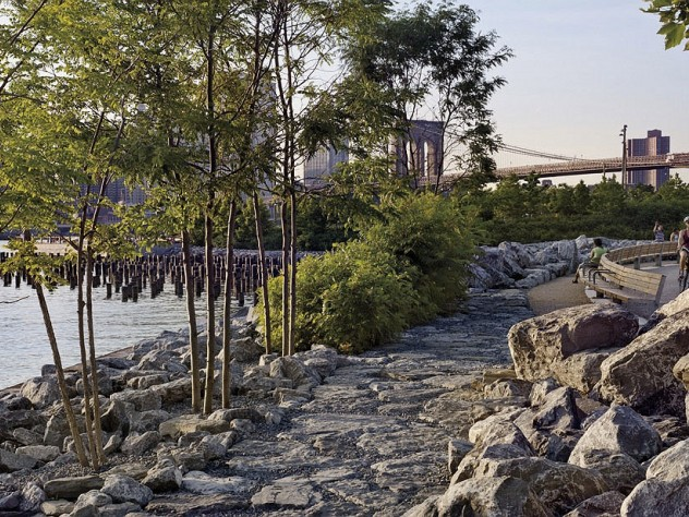 In the park: a natural-feeling path paved in salvaged granite
