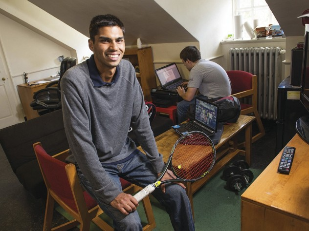 Juniors Shaun Chaudhuri, a varsity tennis player, and roommate Cory Pletan at home in Eliot House