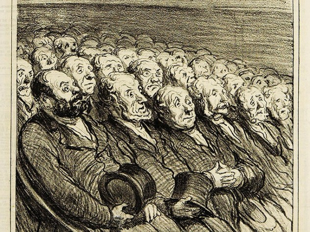 <i>The Audience in the Orchestra Seats,</i> 1864, lithograph by Honoré-Victorin Daumier. Harvard Theatre Collection