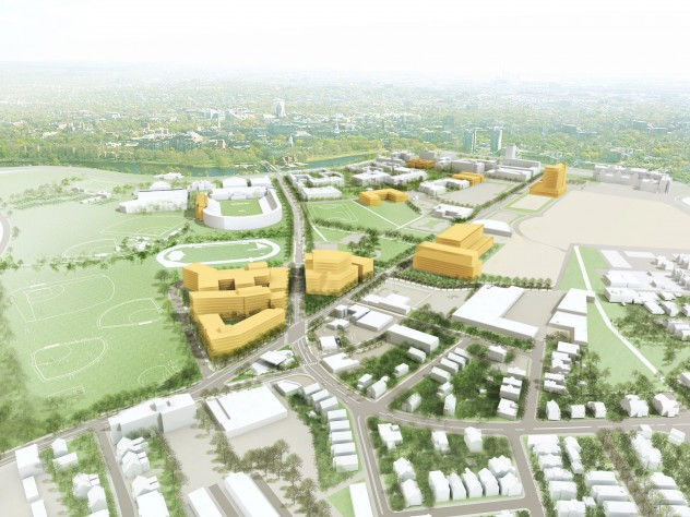 Harvard's 10-year plan for Allston includes an addition to Harvard Stadium and construction of new buildings, as seen looking northeast from Allston back toward Cambridge.
