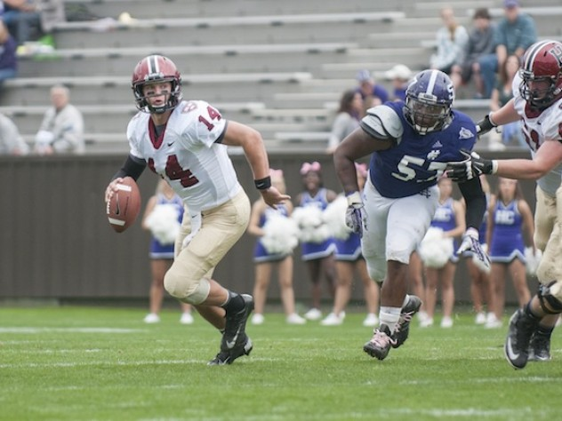 Quarterback Conner Hempel directed the late drive that tied the Crusaders, 21-21, with 38 seconds left in regulation. The rally was climaxed by Hempel's 10-yard touchdown pass to tight end Cameron Brate.