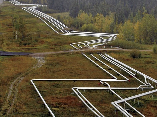 Pipelines near Cold Lake, Alberta, distribute oil derived from tar sands.