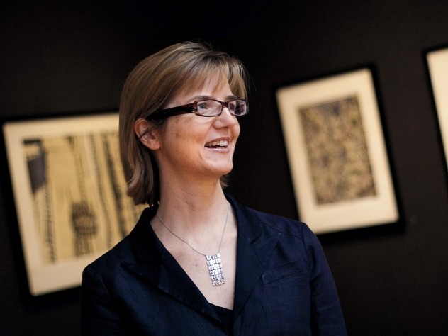 Jennifer Roberts in the fourth-floor gallery space of the Sackler Museum