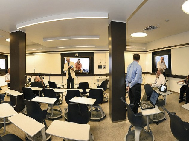 Recent renovations in Old Quincy, now renamed Stone Hall:a smart classroom fitted with Mondopads and document cameras