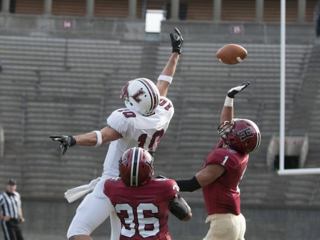 Cornerback D.J. Monroe (36) and safety Chris Splinter (1) each had an interception in Saturday's game. The Lafayette player is Mark Ross, the Leopards' leading receiver.