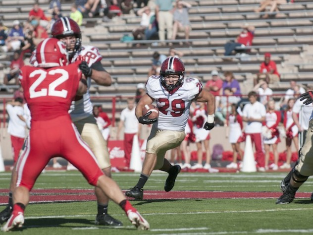 Tailback Paul Stanton Jr. was the game's leading rusher, gaining 72 yards on 16 carries. Clearing the way with a block on Cornell linebacker Jackson Weber is tight end Tyler Ott.