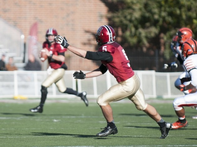 Ricky Zorn (5) was Harvard's leading receiver in the Princeton game, with eight catches for 168 yards. Zorn scored the Crimson's first touchdown on a 33-yard pass play, pulling in a ball that had glanced off the shoulder of a Tiger defender.