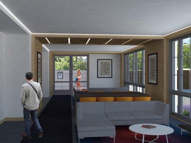 A rendering of a common space in the new building