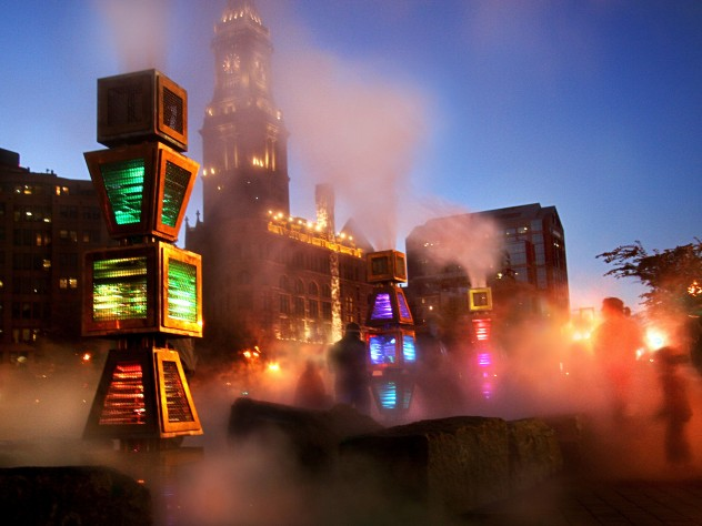 <i>Harbor Fog</i>'s motion-activated LED lights illuminate the fog.