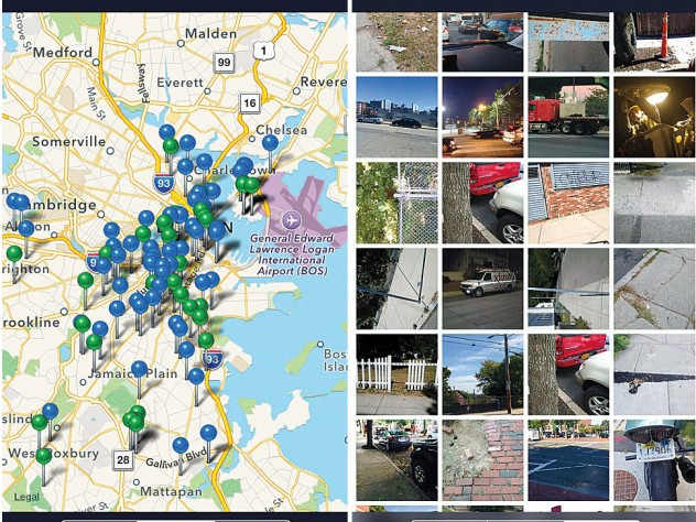 Apps such as this one, developed for Boston, allow residents to report problems like trash or broken signs by uploading geocoded photos to a publicly accessible map.