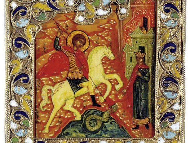 A jeweled icon of Saint George and the dragon
