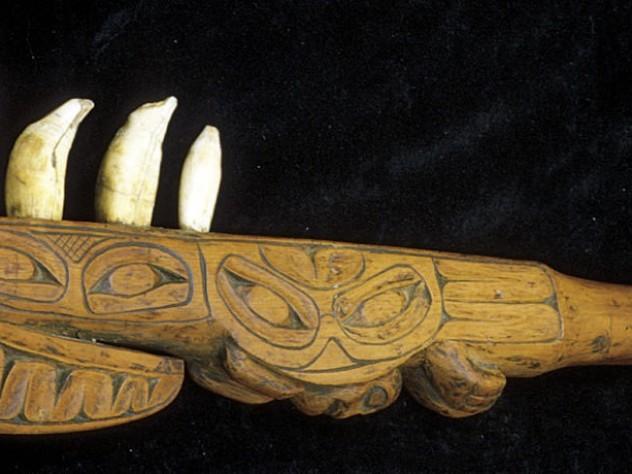 A Nisga'a club is armed with whale teeth (British Columbia)