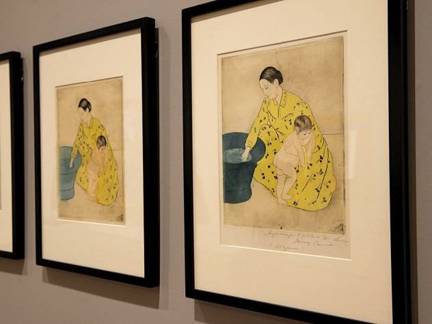 """Impressions on paper from Mary Cassatt's own """"studio collection"""" show her experimentation with combinations of black plates and color plates using a variety of inking techniques and colored papers."""