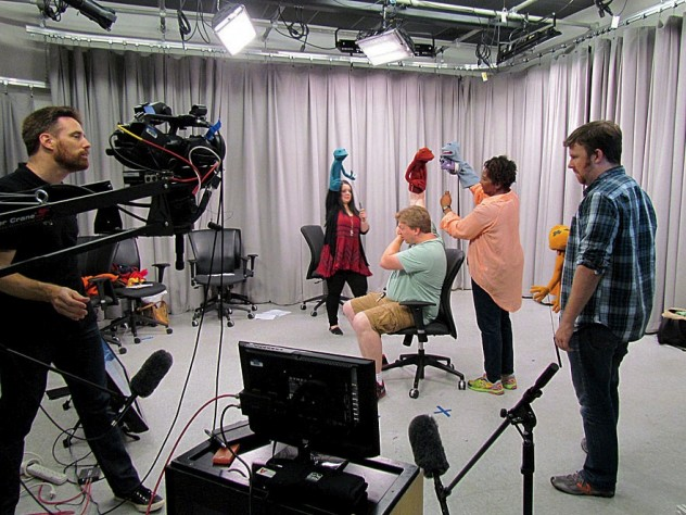 """An """"On-Camera Puppetry Intensive"""" with Ronald Binion (at far left)"""
