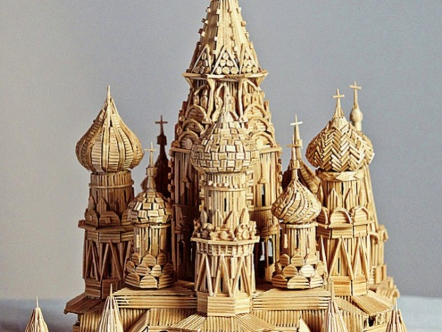 """Stan Munro's """"toothpicked"""" version of St. Basil's Cathedral, in Moscow"""