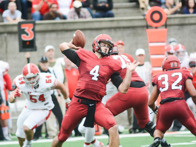 Crimson quarterback Joe Viviano had another strong passing game, completing 22 of 35 passes for 229 yards and a touchdown.