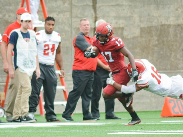 On his eight receptions and one juke-filled punt return, Harvard's Justice Shelton-Mosley proved hard for Cornell defenders such as Justin Solomon to get a hand on.
